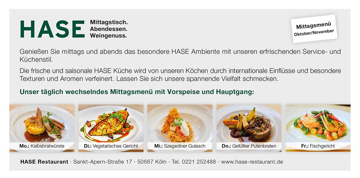 Unsere Mittagsmenüs Oktober/November im HASE Restaurant